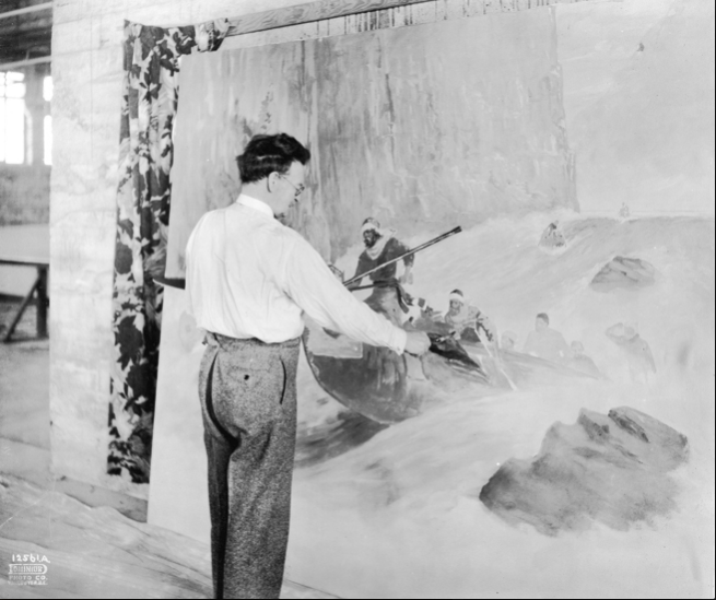 John Innes paint a mural for the David Spencer Department Store Photo: Vancouver Archives
