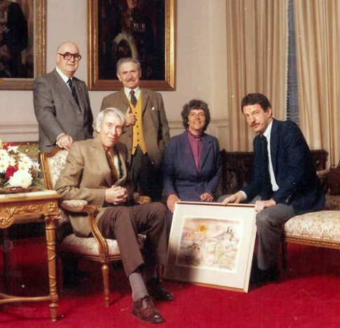 Julius Griffith (seated left), 1985 Diamond Jubilee committee , Society of Painters in Watercolour Photo:Anthony (Tony) J. Batten