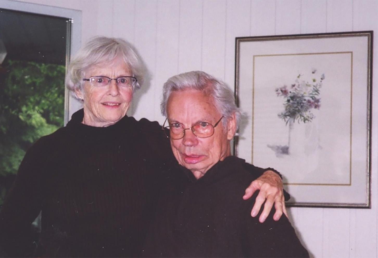 Barbara and Don Atkins (Molly Lamb Bobak watercolour) at their home, early 2000s.