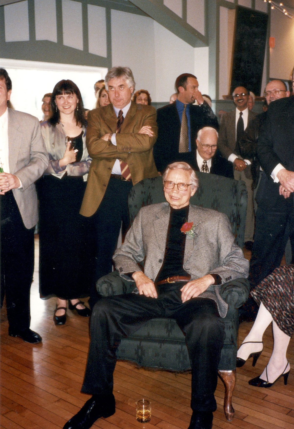 Don Atkins at his retirement party from Benwell-Atkins near the end of the 1990s (he kept going to the office after he retired...). Behind him, centre standing, is Bob Doull with Leanne Nash. Cut off on the far left is Matthew Petley-Jones.
