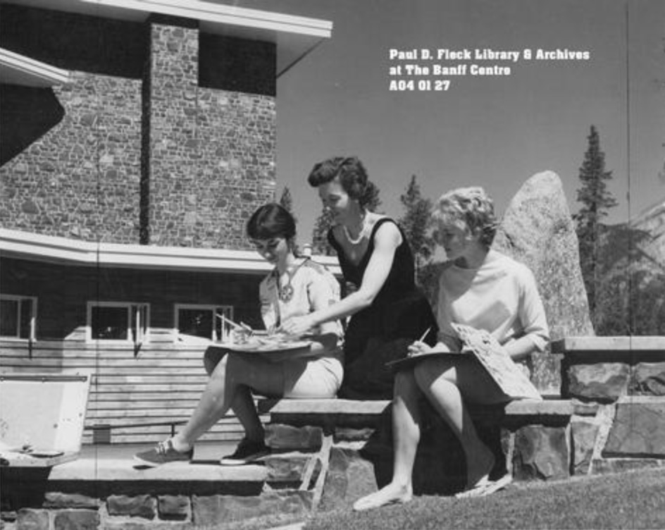 Scanned Historical Photographs Collection  Holly Middleton & students  [1963?]   Photograph of art faculty Janet Middleton assisting two students outside Donald Cameron Hall.  Photo by  Bruno Engler  Image # : A 04 01 27