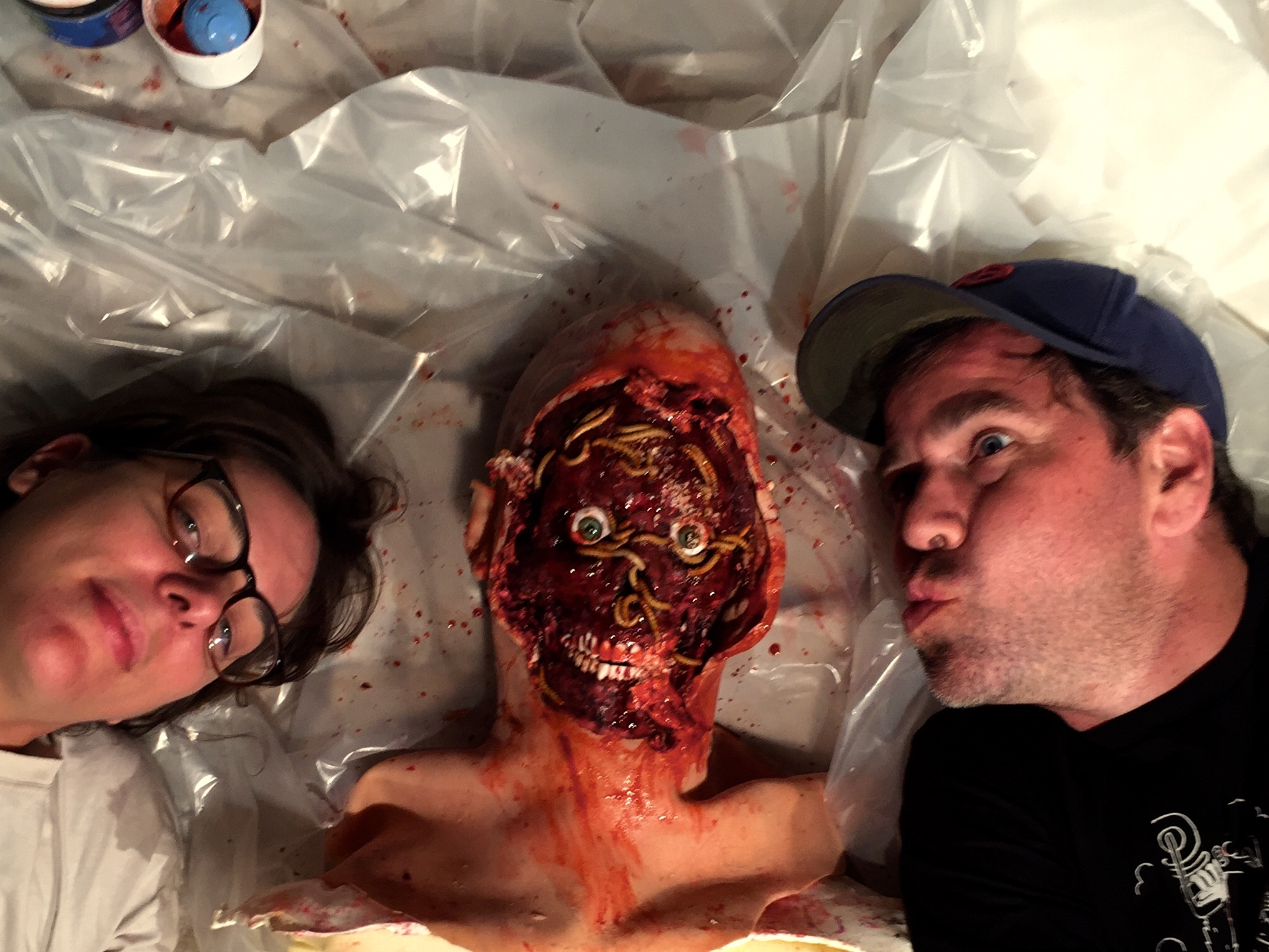 Me and @maggotbreath... oh and gross head with maggots.