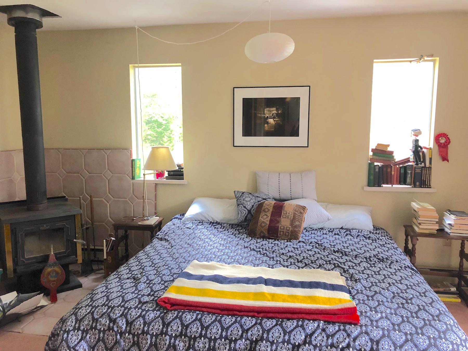 Master bedroom w/h wood stove