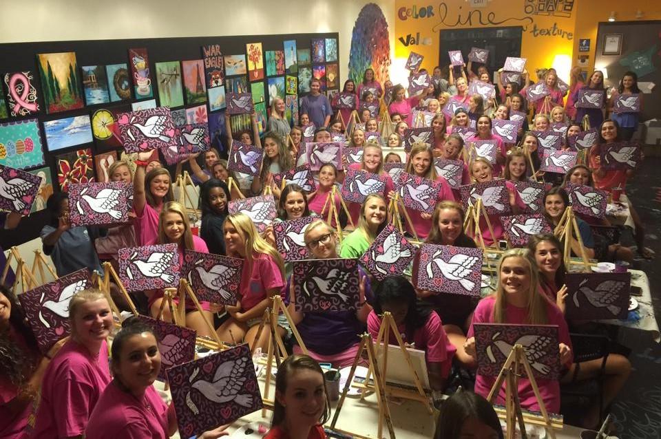 Painting class picture Sigma Kappa Bid Day 2015
