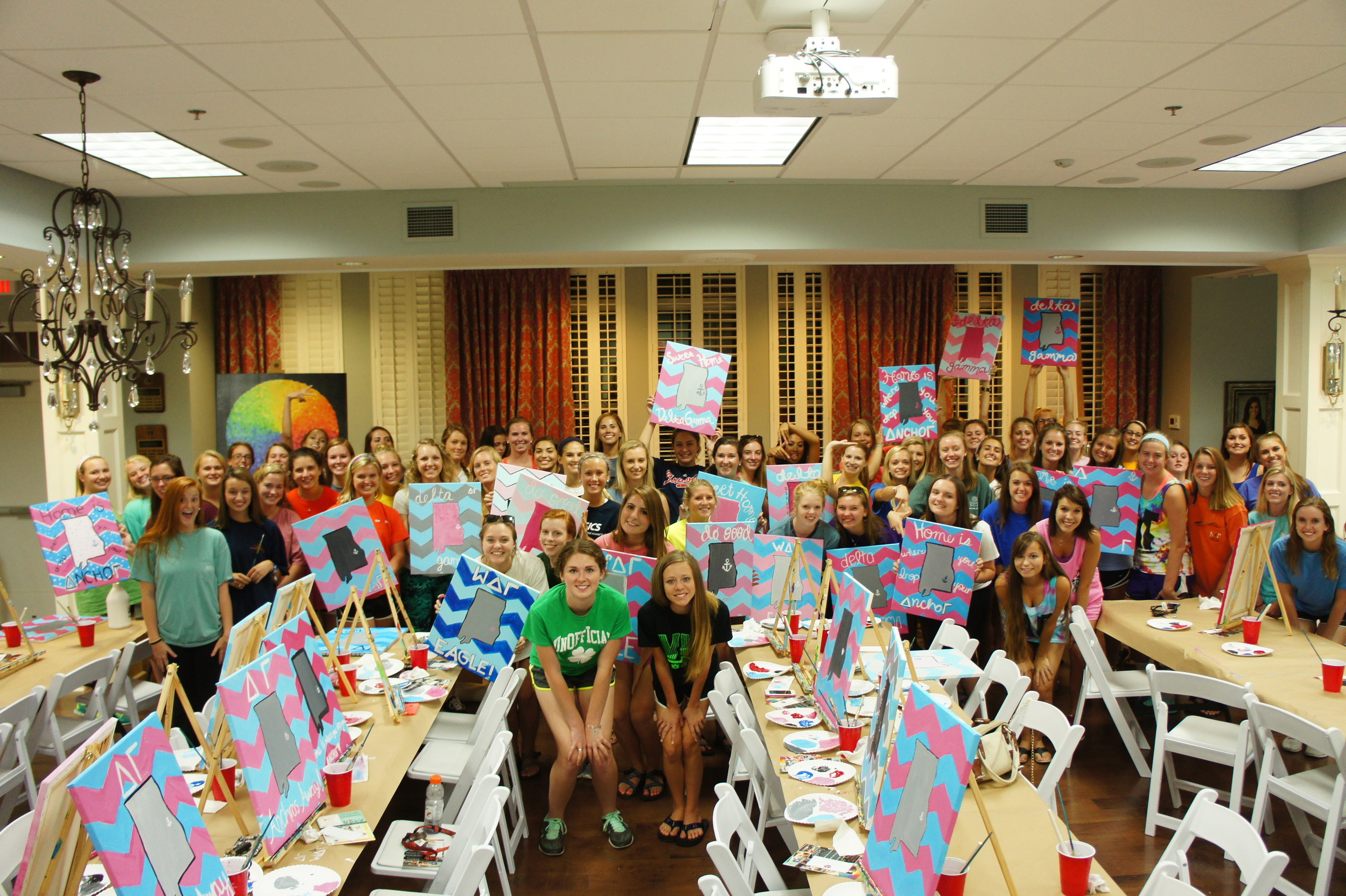 Painting class picture Delta Gamma New Members 2014