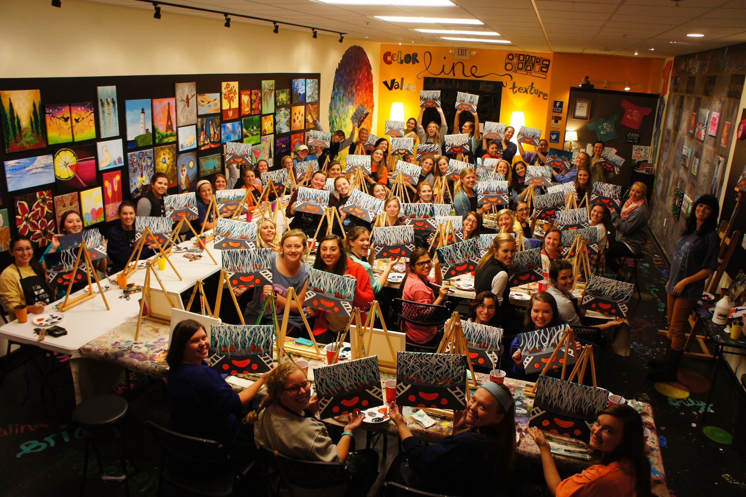 Painting class picture Kappa Alpha Theta Sisterhood Event 2015