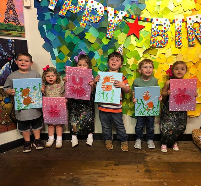 How cute are these sweeties from a recent preschool Picasso party?! #spiritedartao #startemyoung #futuremasters #precious