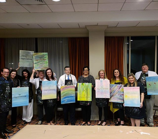 We had a blast painting abstract canvas quotes with the spa team @marriottgrandnational Thanks so much for having us be part of your team building event! #beinsparational #spiritedartao #offsiteevents #privateparty #teambuilding