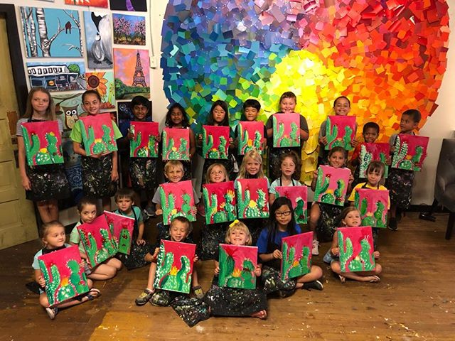 HOW is already the first day of summer camp?! So excited for our sixth season of fun painting with all these sweet budding artists! #spiritedartao #summercamp2019 meetthemastersday1