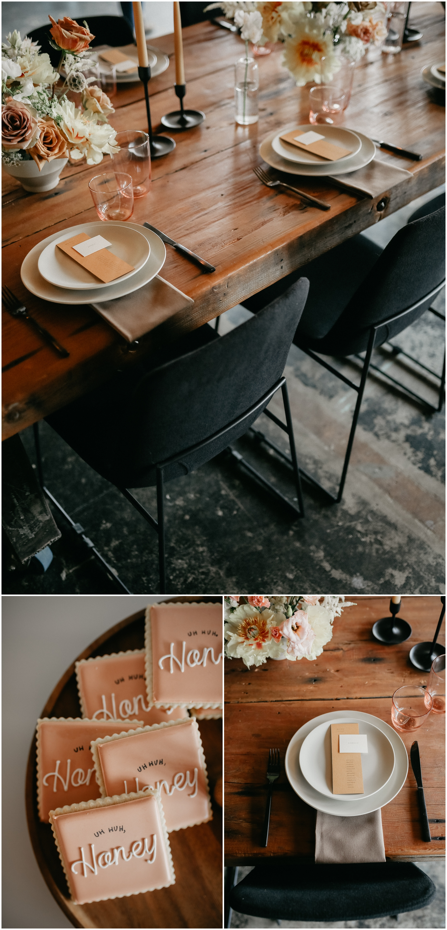 Urban Wedding Tablescape, Rustic Place Setting