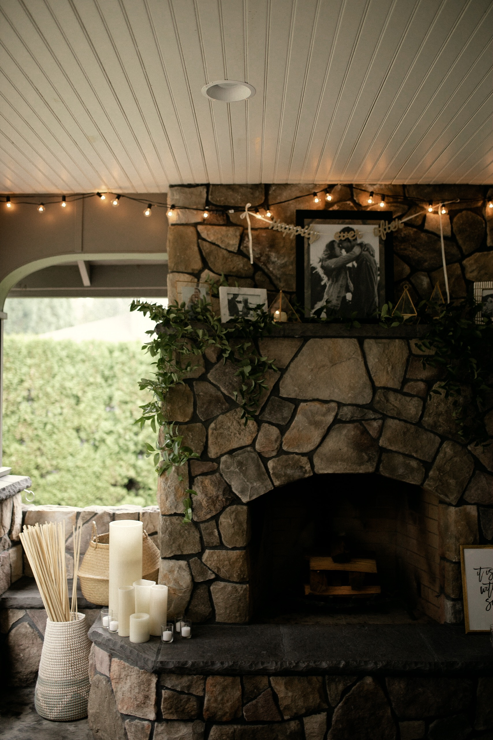 Portland Oregon backyard wedding lounging area with outdoor fireplace