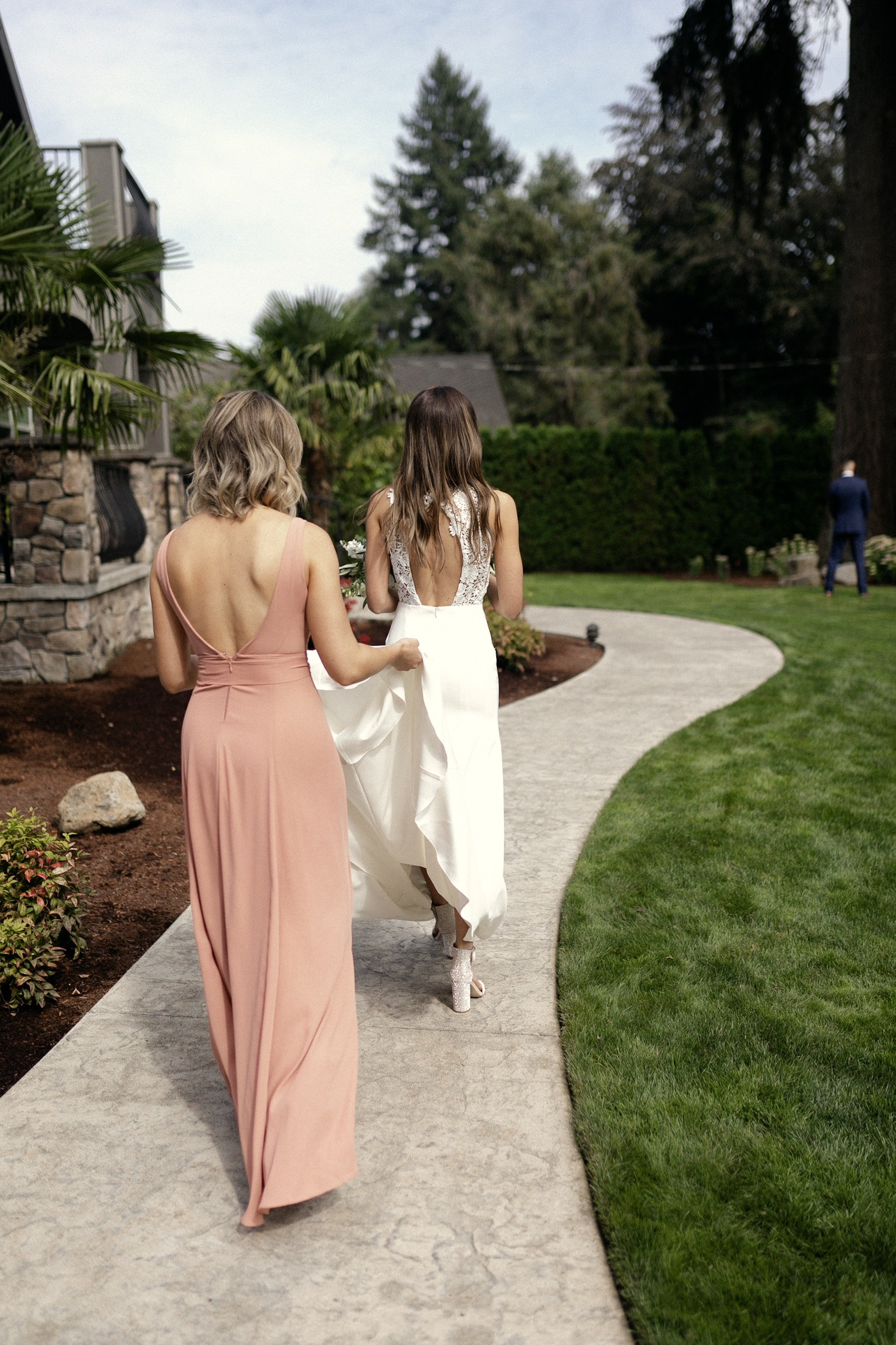 Bride and Sister first look Sarah Seven dress