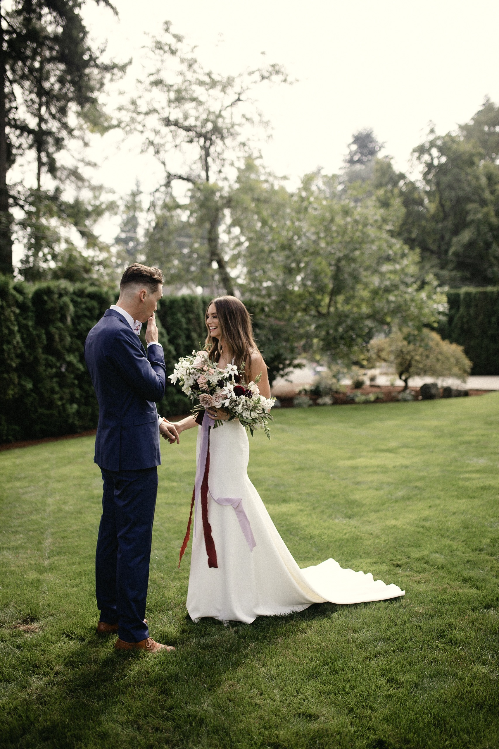 Bride and Groom first look Portland Oregon