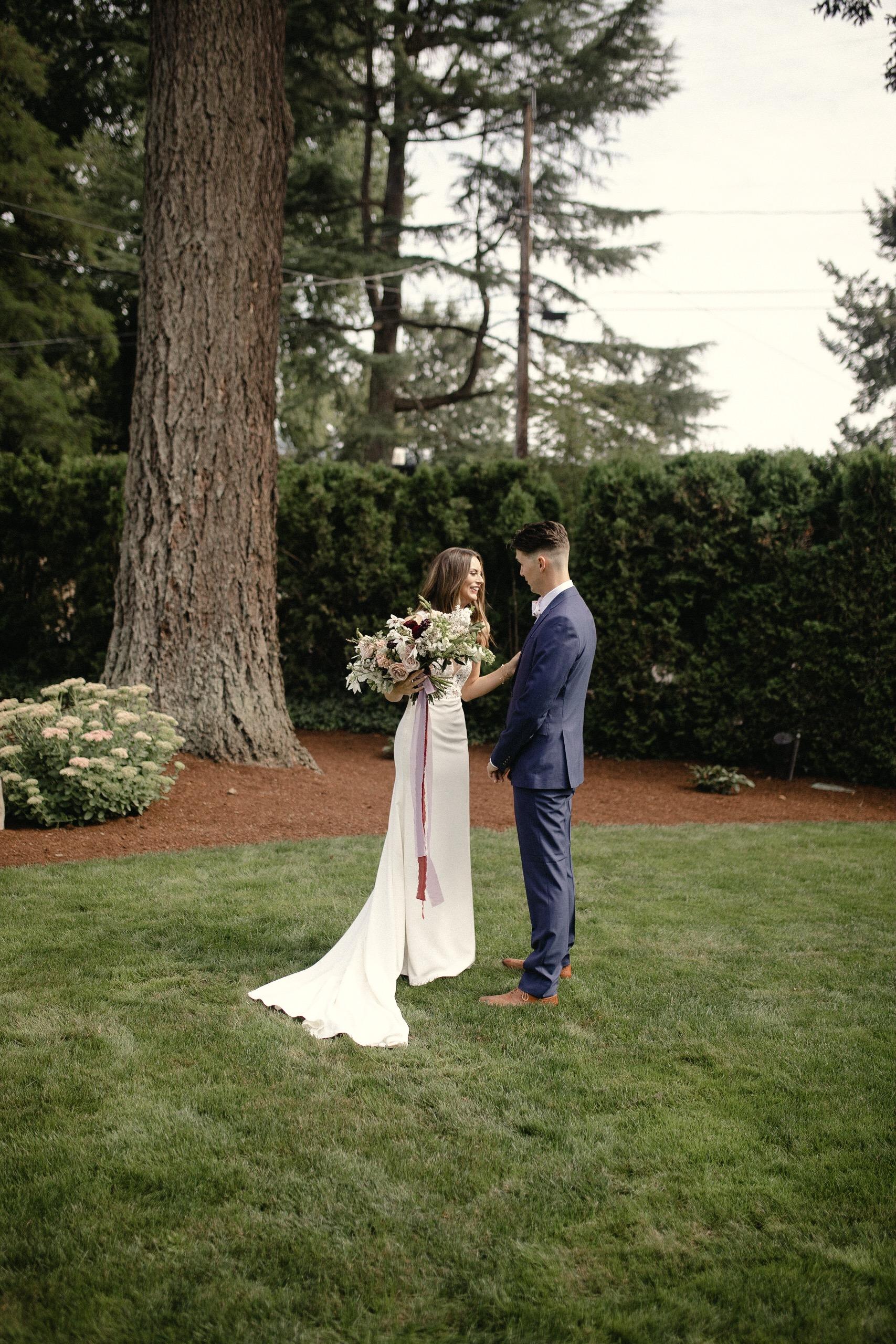 Bride and Groom first look backyard wedding Portland Oregon
