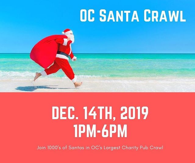 It's official!! @ocsantacrawl is Saturday, December 14th, 2019 starting at 1pm @woodysnewport tickets on sale now: use promo code fbsanta50 to save 50%!! Last year we had over 1200 Santas and donated over $20,000 to @theelihome help us raise even more money this year!! #ocsantacrawl #santacrawl #santacon #beer #wine #cocktails #happyhour #newportbeach #newportpeninsula #balboabay