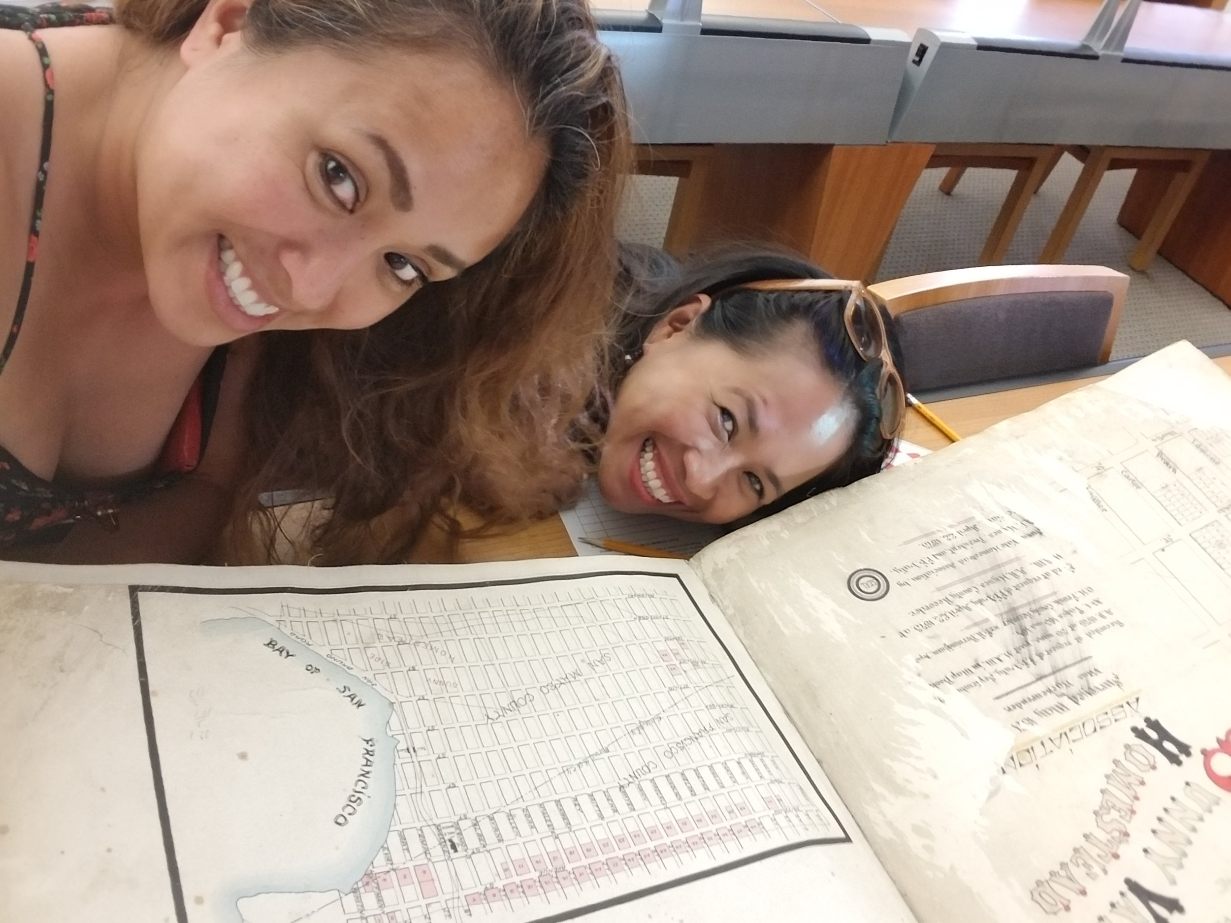 That's me and Gina going through some huge, hand-drawn maps at the History Room of the San Francisco Public Library.