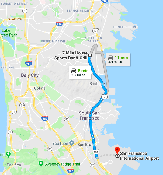7 Mile House is conveniently located near SFO and downtown San Francisco.