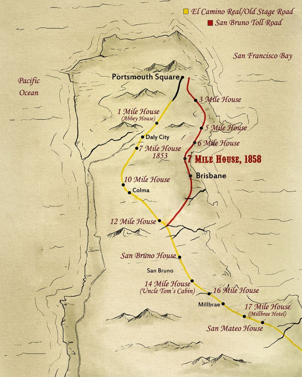 Hand-drawn map of mile houses that lined the road from Portsmouth Square to San Jose. This map is published in the book 'See You At the 7: Stories From the Bay Area's Last Original Mile House'.