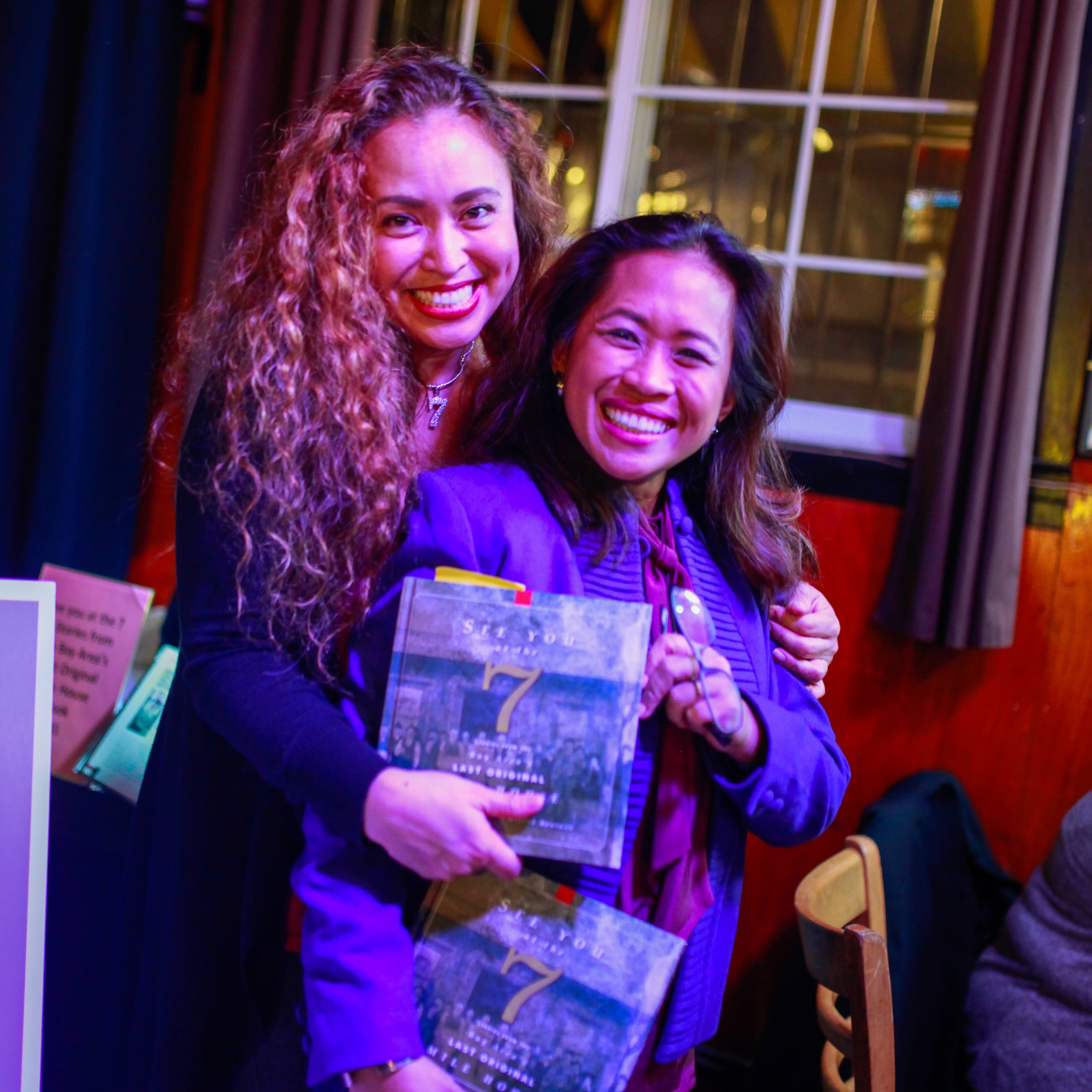 "Vanessa Garcia and Regina Abuyuan at the book launch party this past January 2018, for ""See You at the 7: Stories From the Bay Area's Last Original Mile House."