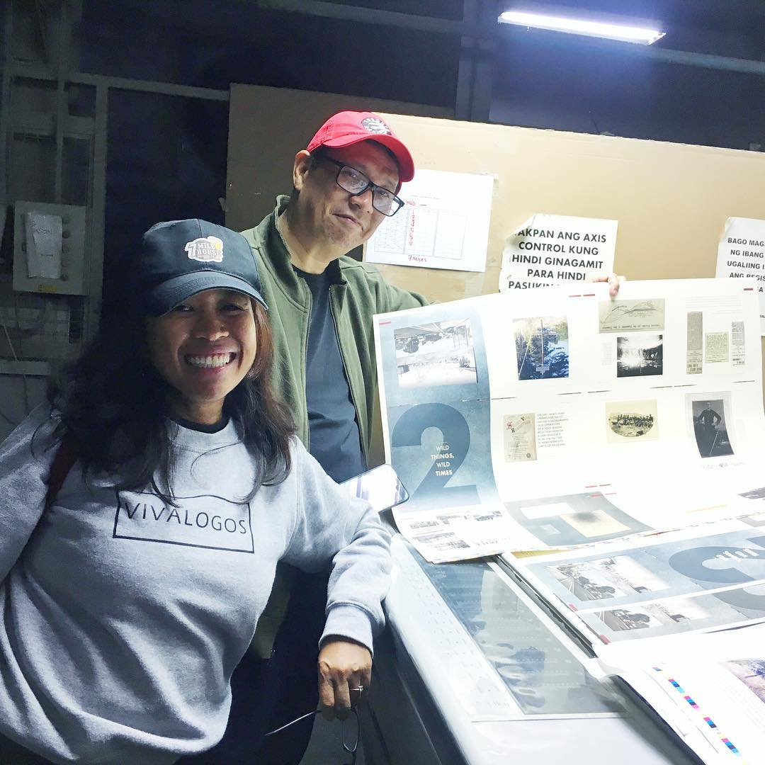 Regina Abuyuan with Noel Avendaño, reviewing the book proof in the Philippines where the book was printed.