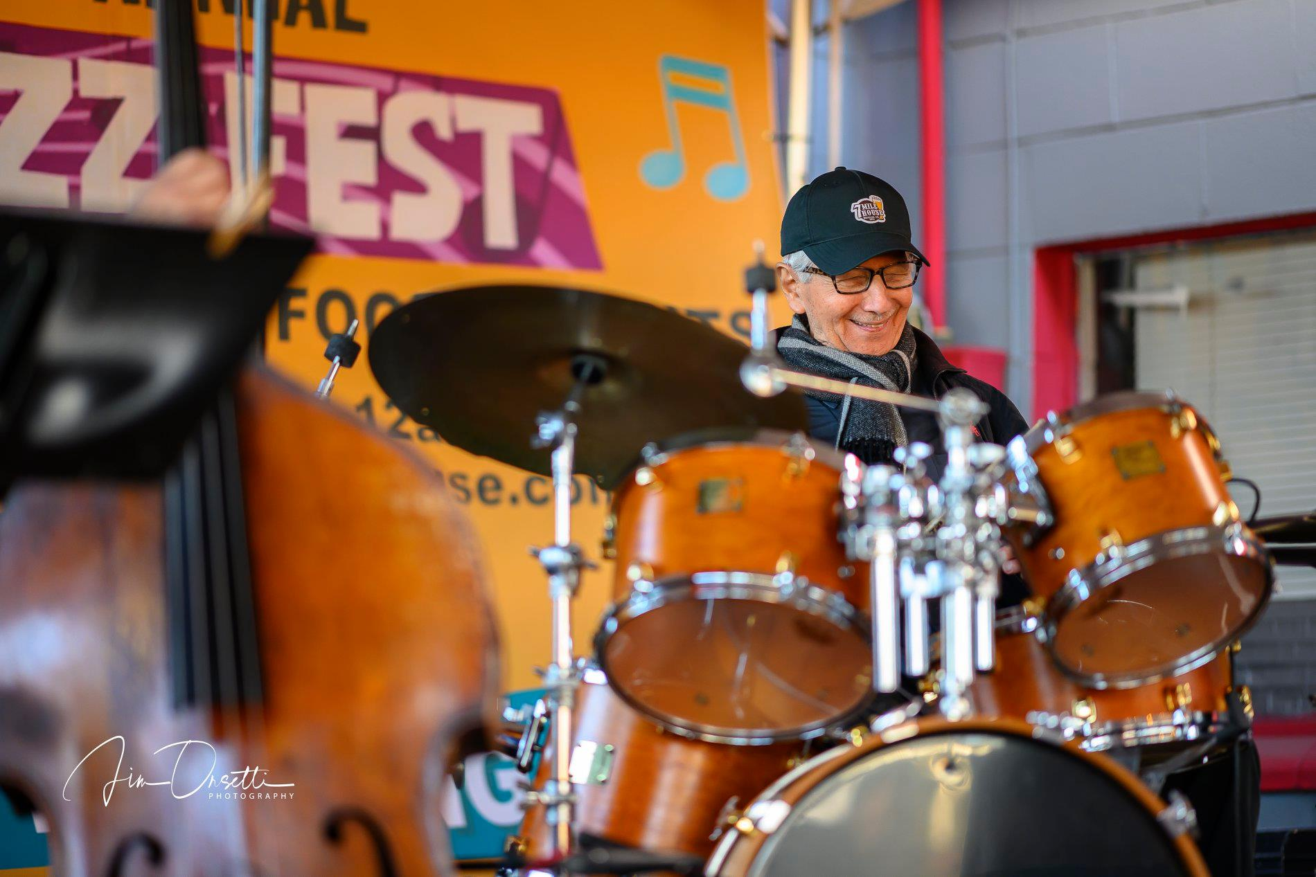Vince Lateano, 2018 Awardee Outstanding Jazz Musician, at the 2nd Annual 7 Mile House Jazz Fest 2019