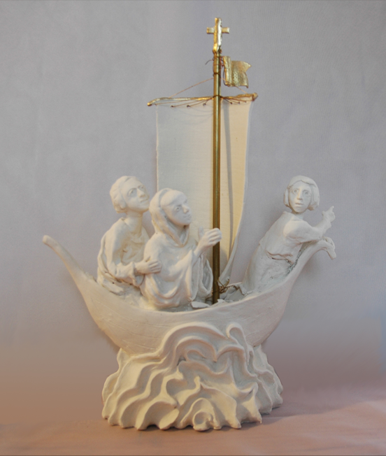 St. Cuthbert crosses the Sea  Porcelain and gold leaf