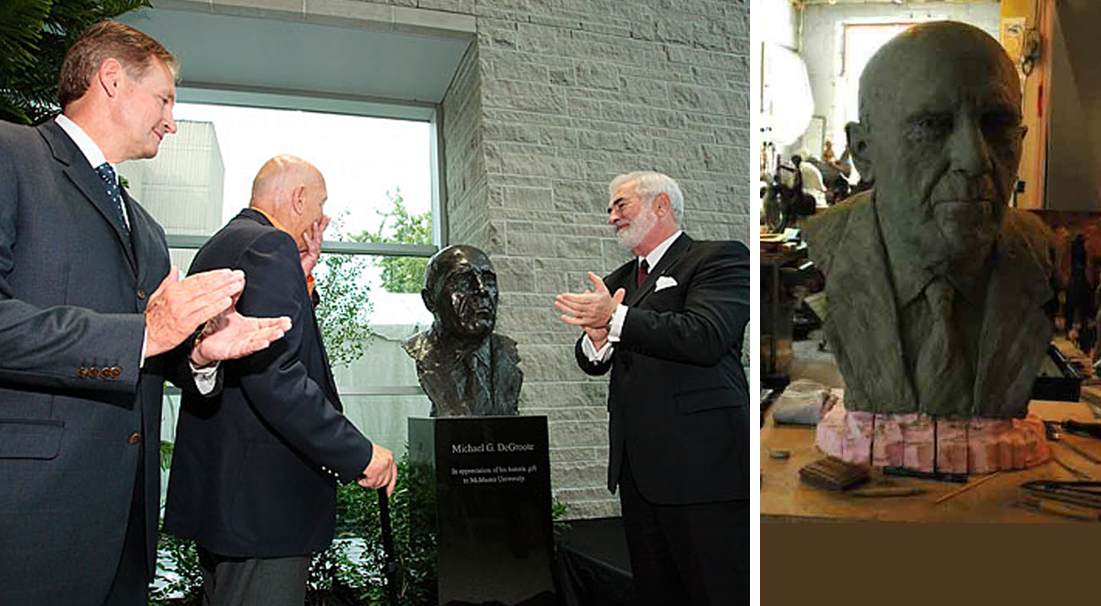Unveiling of DeGroote Portrait - McMaster University, Hamilton, Ont    Dr. John Kelton, Michael G. DeGroote, Dr. Peter George  Bronze bust in the Atrium, DeGroote Centre for Learning and Discovery, McMaster University, Hamilton, Ontario, Canada   In the making   (right) -Oil based clay to be cast in bronze.