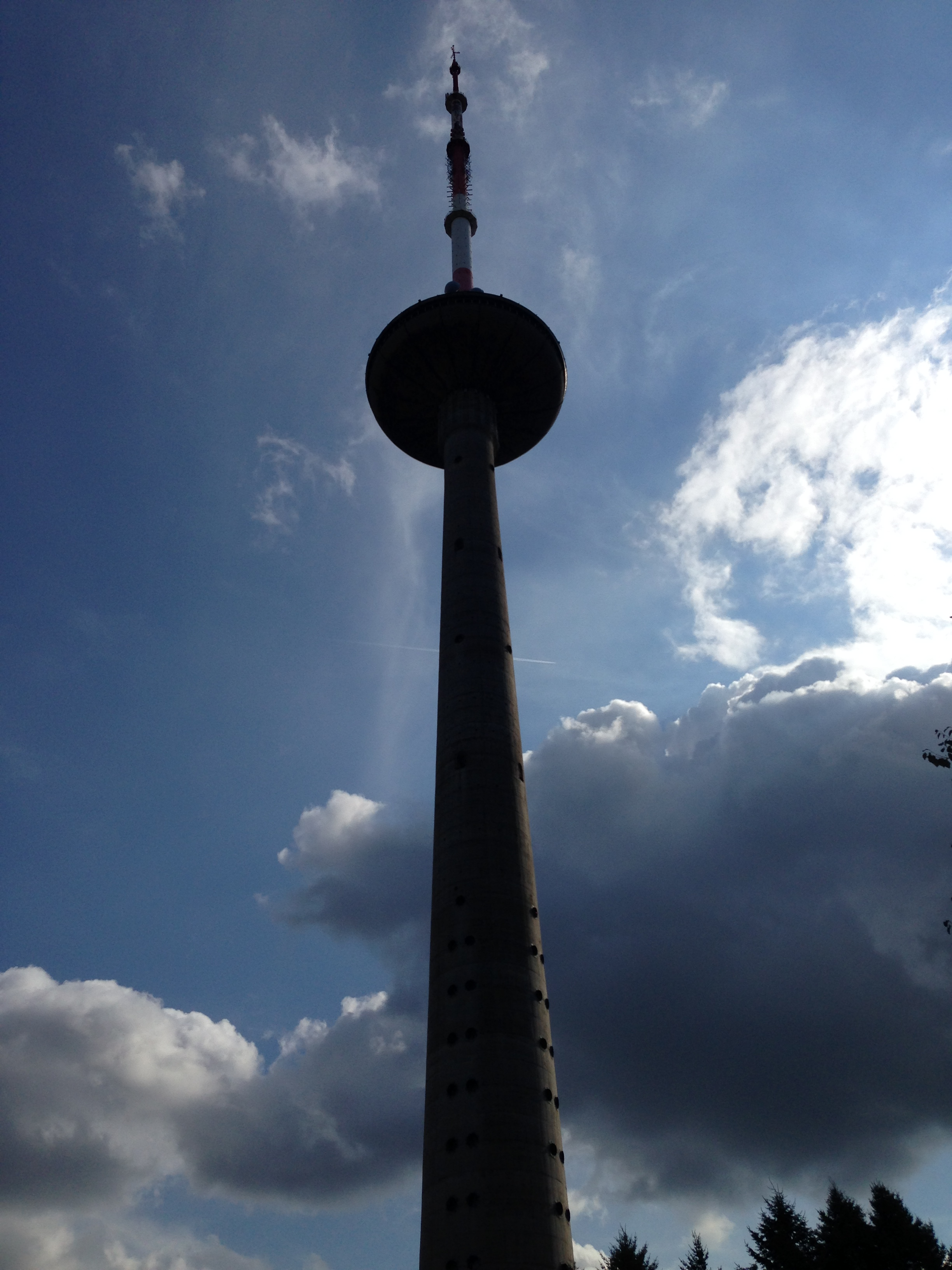Looking up: At its base, Vilnius TV Tower stands next to broadcasting studios for Lithuanian television.