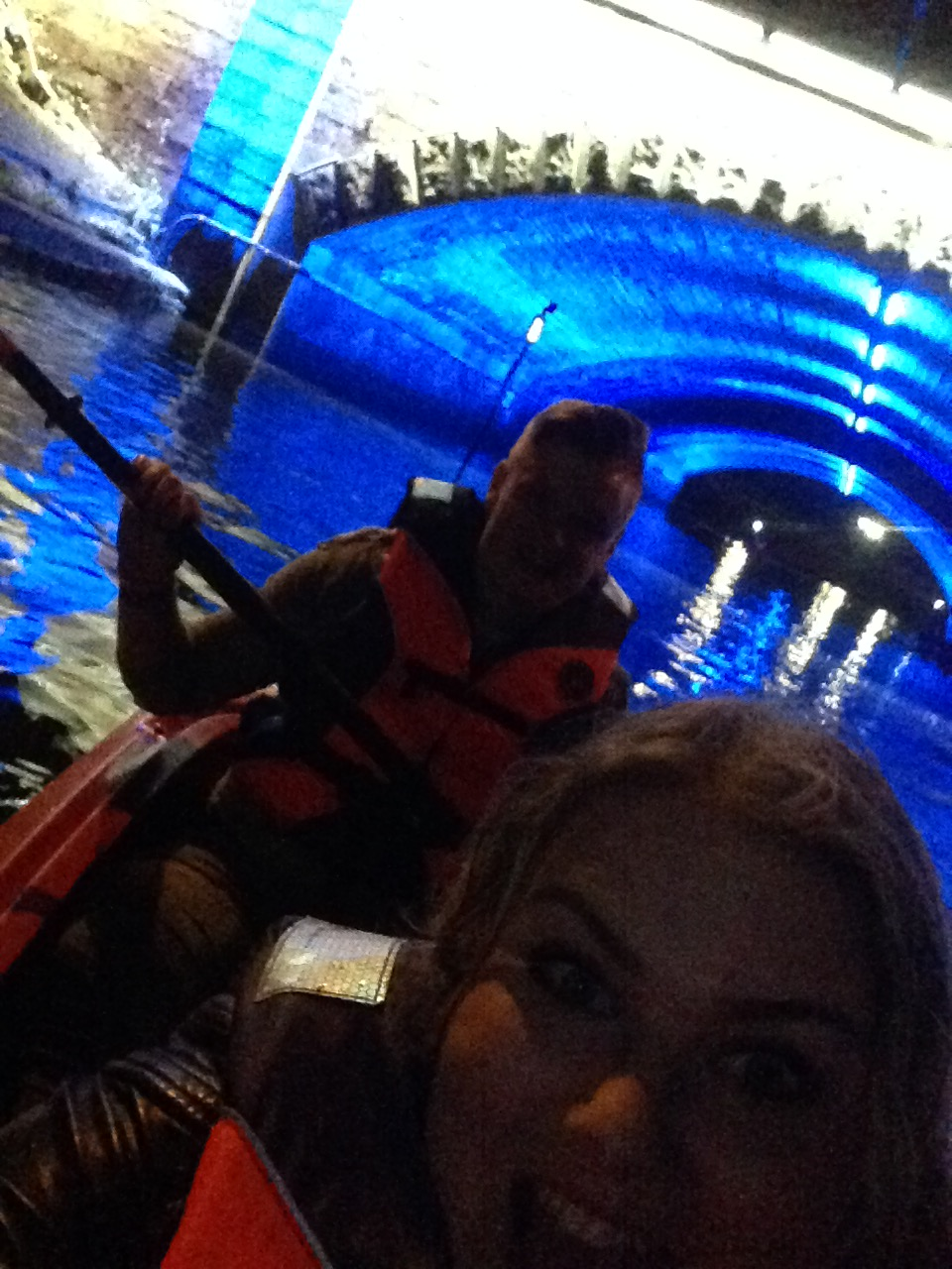A kayaking selfie taken after passing under one of the illuminated bridges in the canal system. You can buy waterproof phone carry cases to prevent you drowning and/or losing your phone.