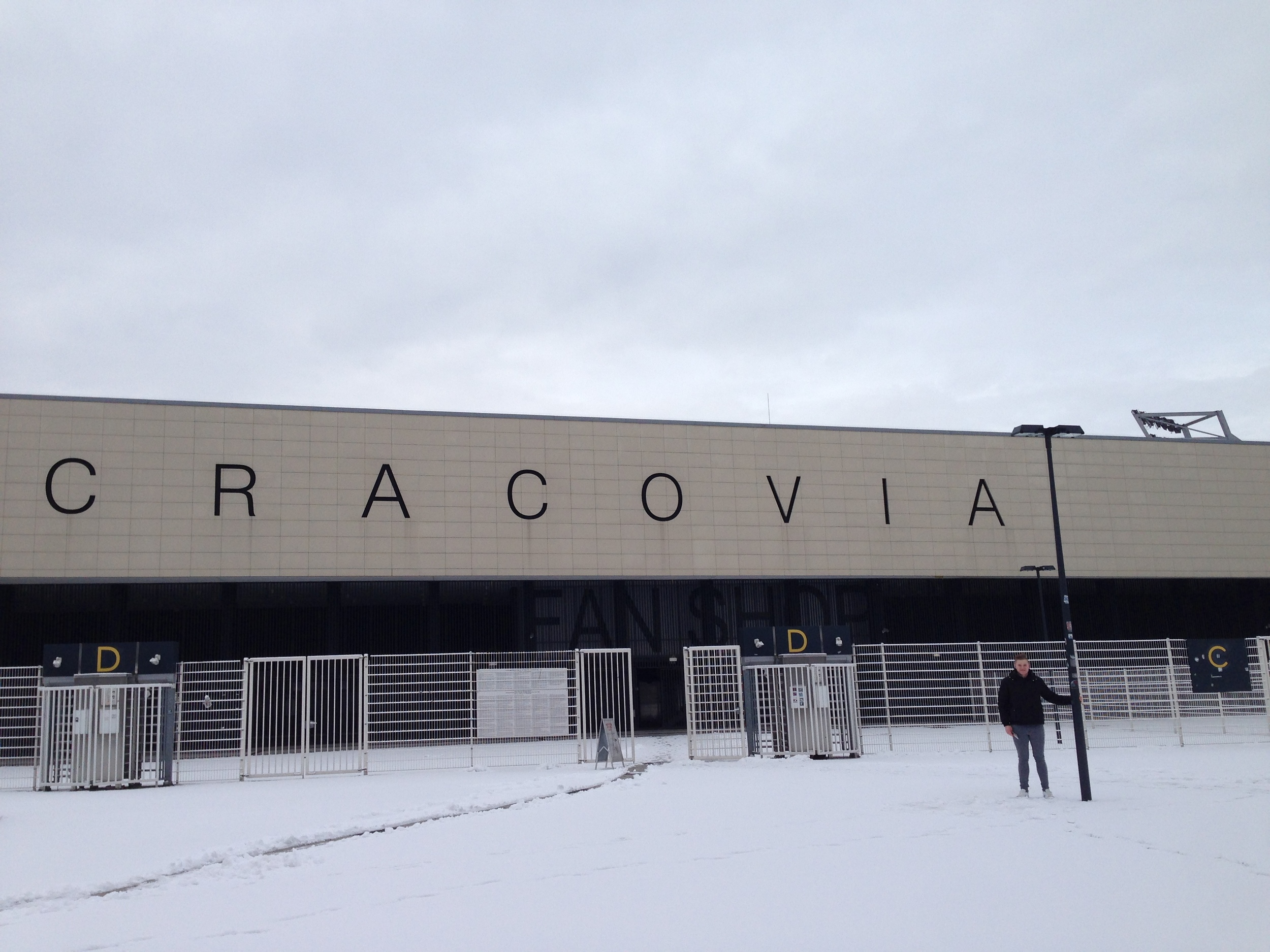 Outside KS Cracovia's ground, Józef Piłsudski Stadium. Cracovia have won the Polish championship five times, and are the oldest football team in Poland still in existence.