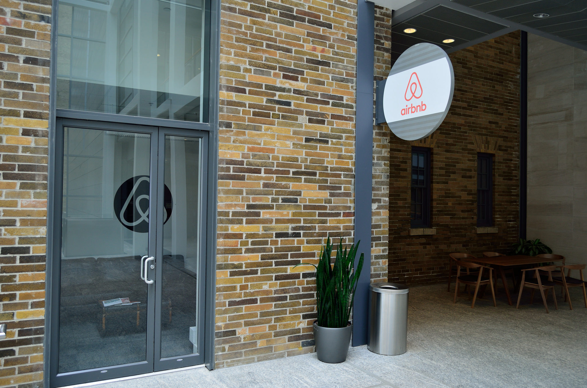 The outside of some    Airbnb    offices.