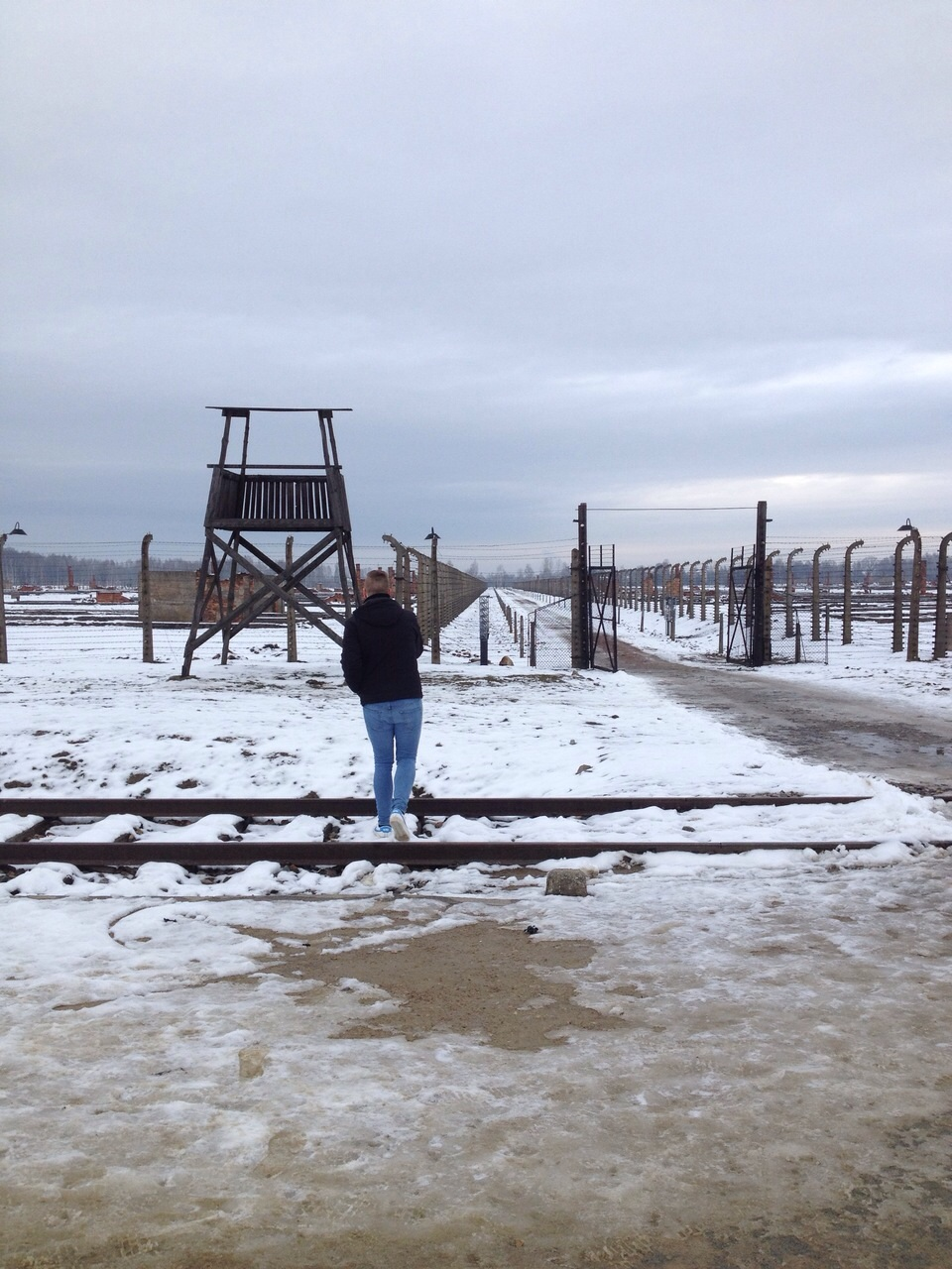 Taking in my surroundings at Auschwitz II-Birkenau.