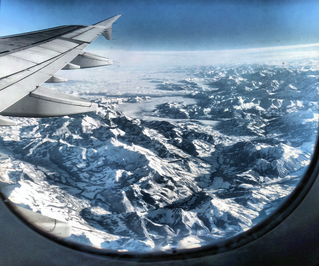 A window seat can also offer you a great view, like this one of the Alps. Image credit:    Panoramas   /Flickr