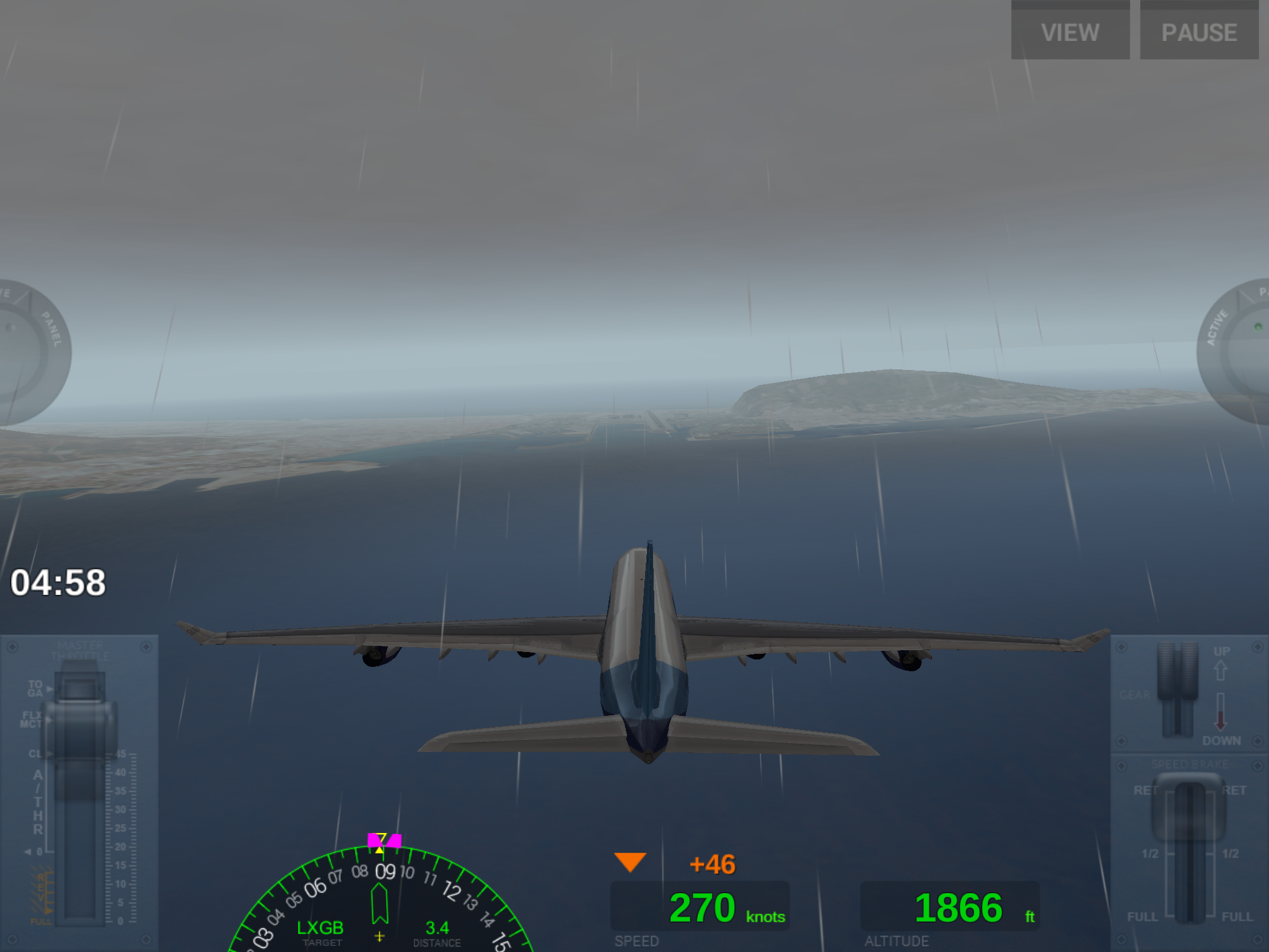 An iPad screenshot of an aircraft coming in to land at Gibraltar Airport (LXGB) on the simulator game Extreme Flight - which is also available on other devices.