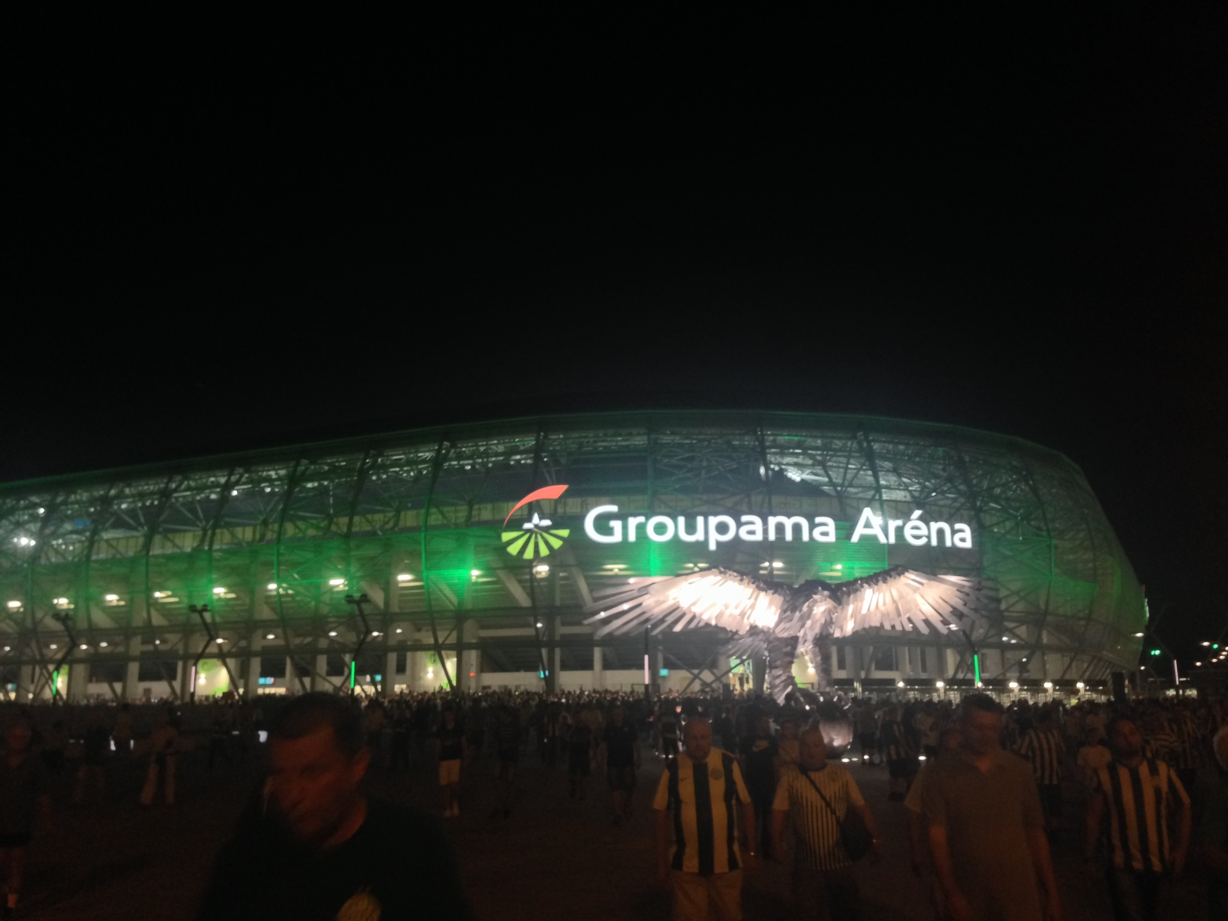 Leaving the stadium to head back to the city after the game had finished. At night the arena lights up green, which is Ferencvaros' colour.