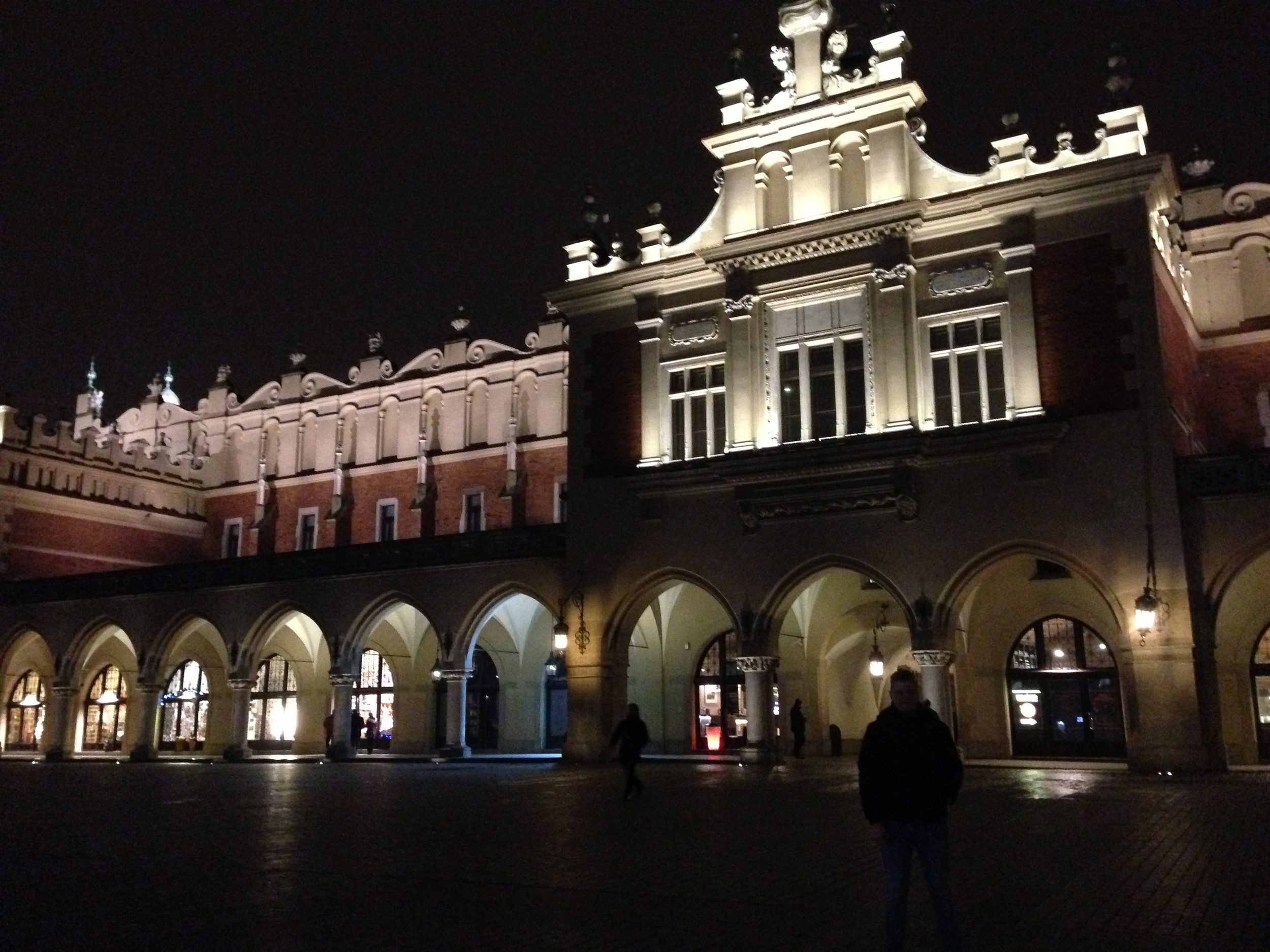 Behind me, well a silhouette of me, is Cloth Hall, which sits right in the middle of Krakow's Main Square.
