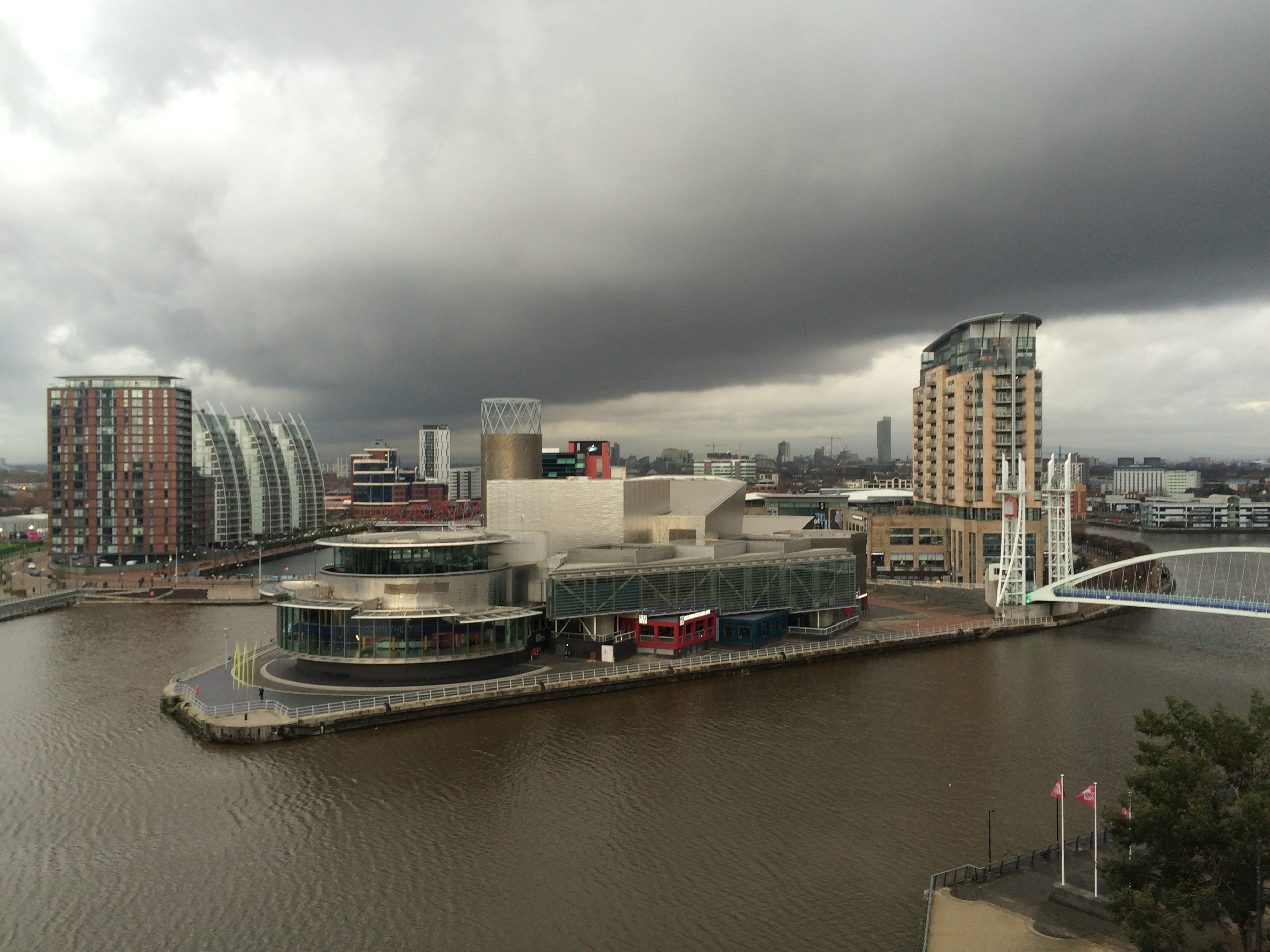 The view from the Imperial War Museum North's shard viewing platform. The Manchester weather is in fine form, as per usual.