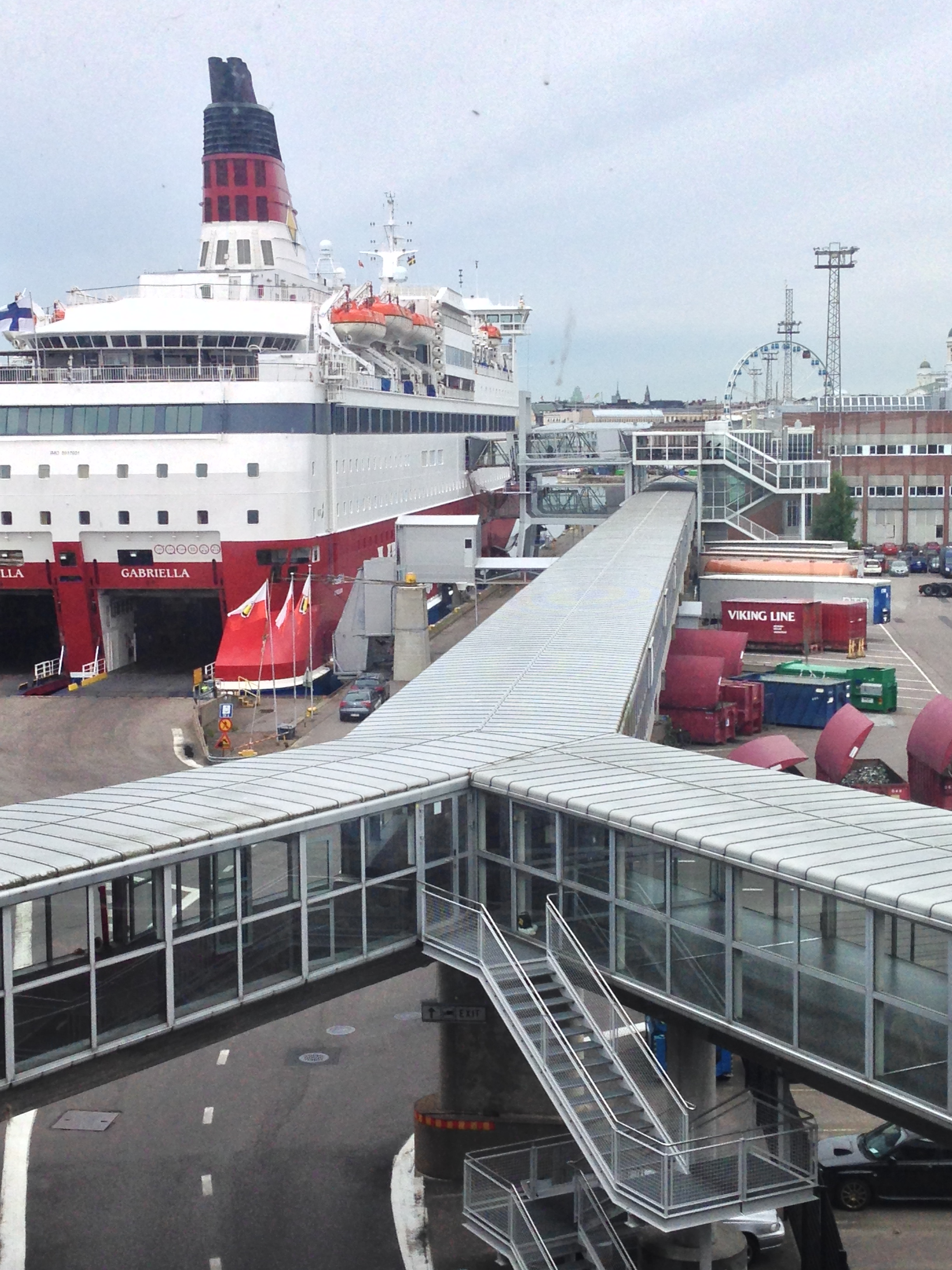 A docked Viking Line ferry at the Port of Helsinki.