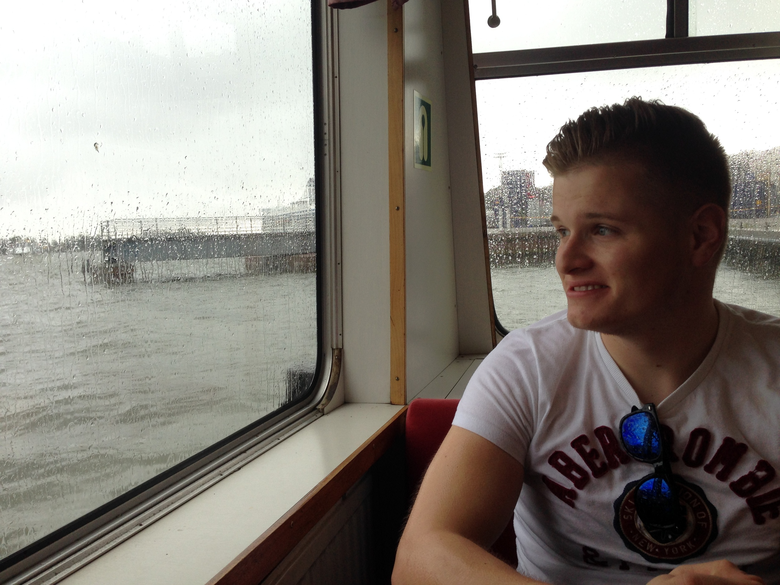 On the boat to Suomenlinna. The weather was awful that day.