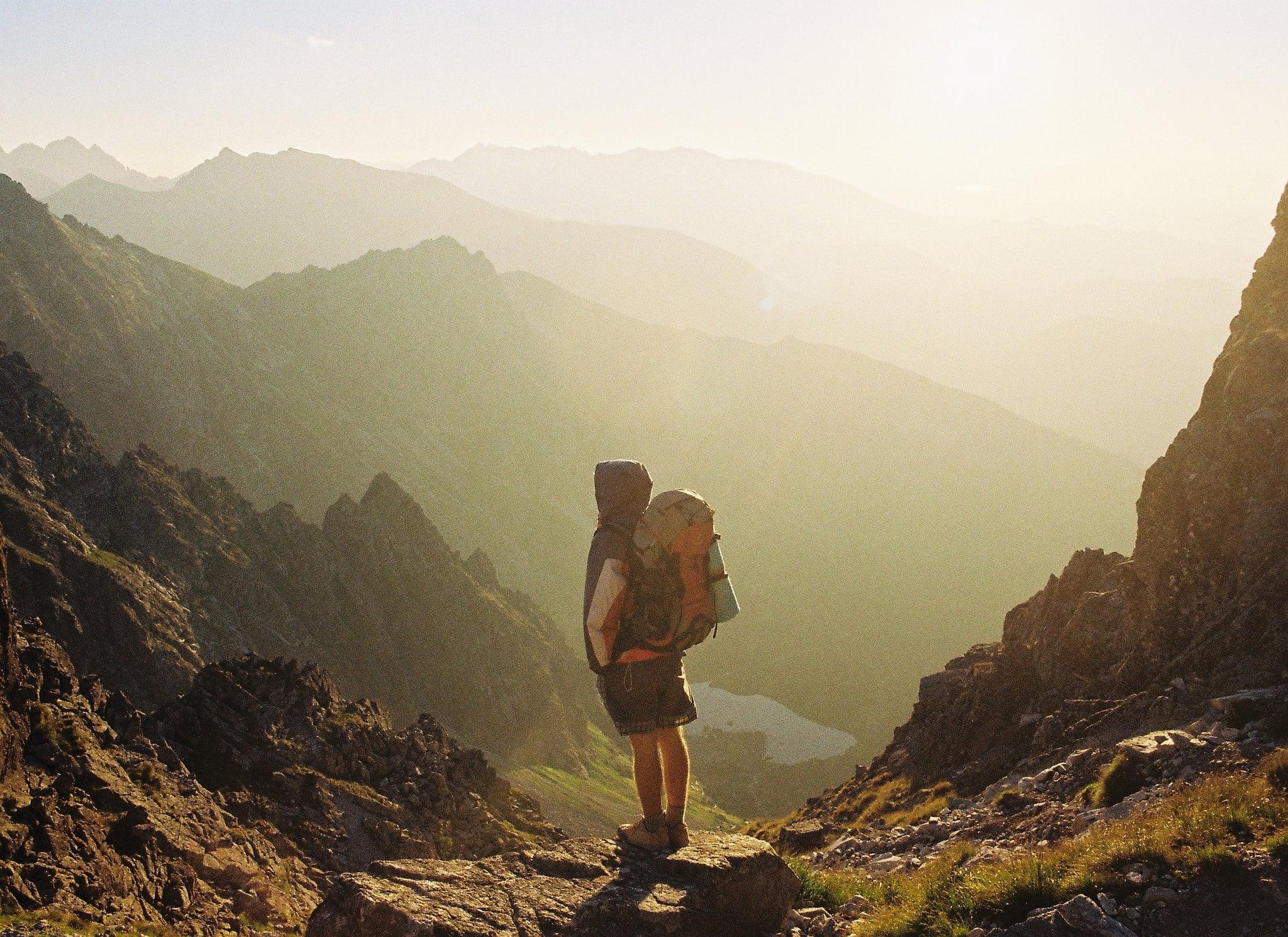 Backpacker-Hiking-Mountains-Sunrise