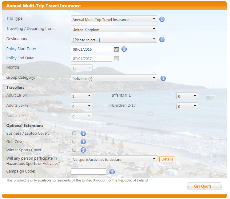 An example of one of Cover4Insurance's quote forms. They are quick and easy to fill out.
