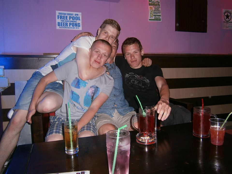 With the lads in Zante bar Drunken Duncan's back in 2013.