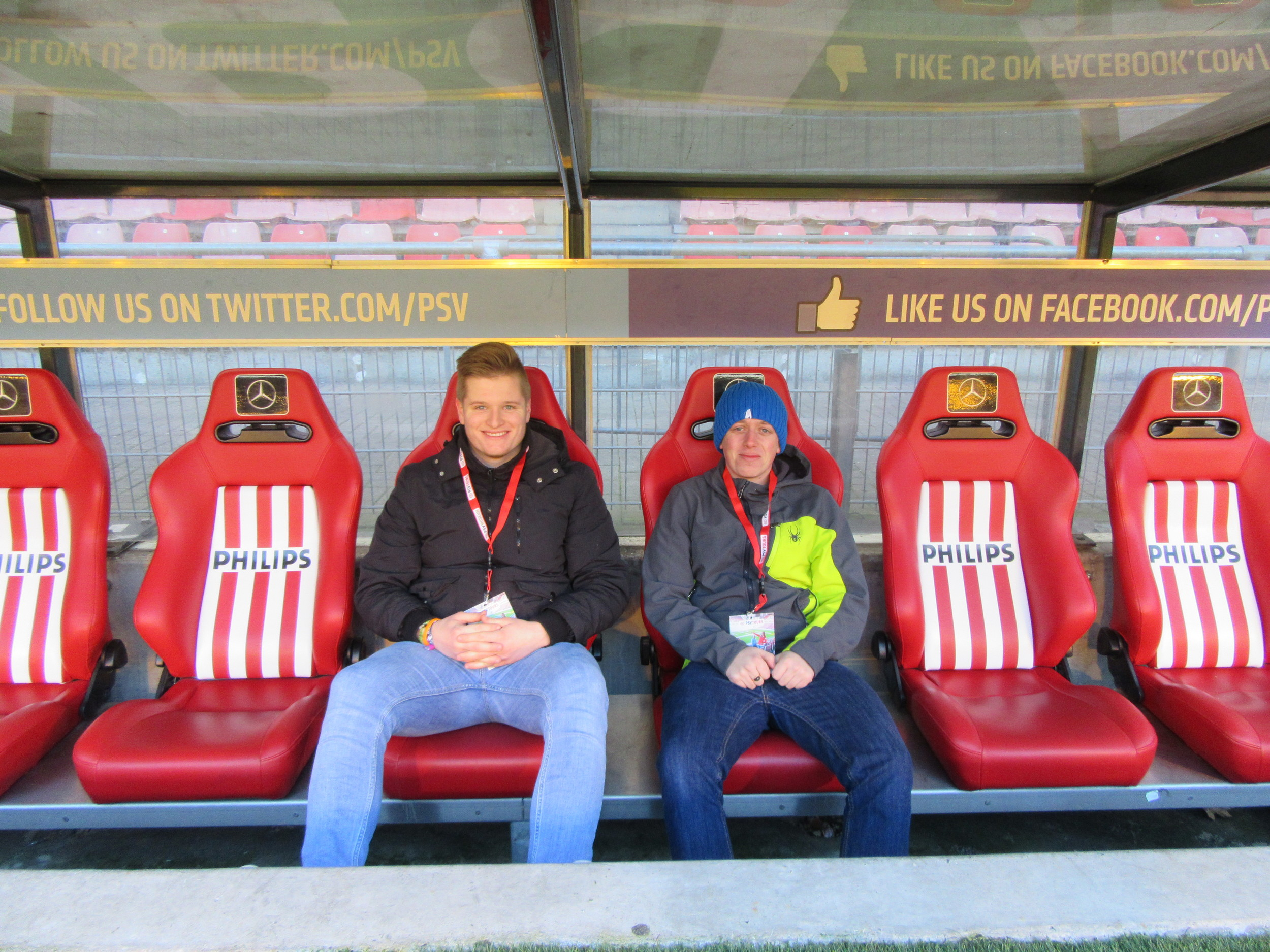 Everyone on the tour gets the chance to sit in the home dugout where the substitutes sit on a match day.