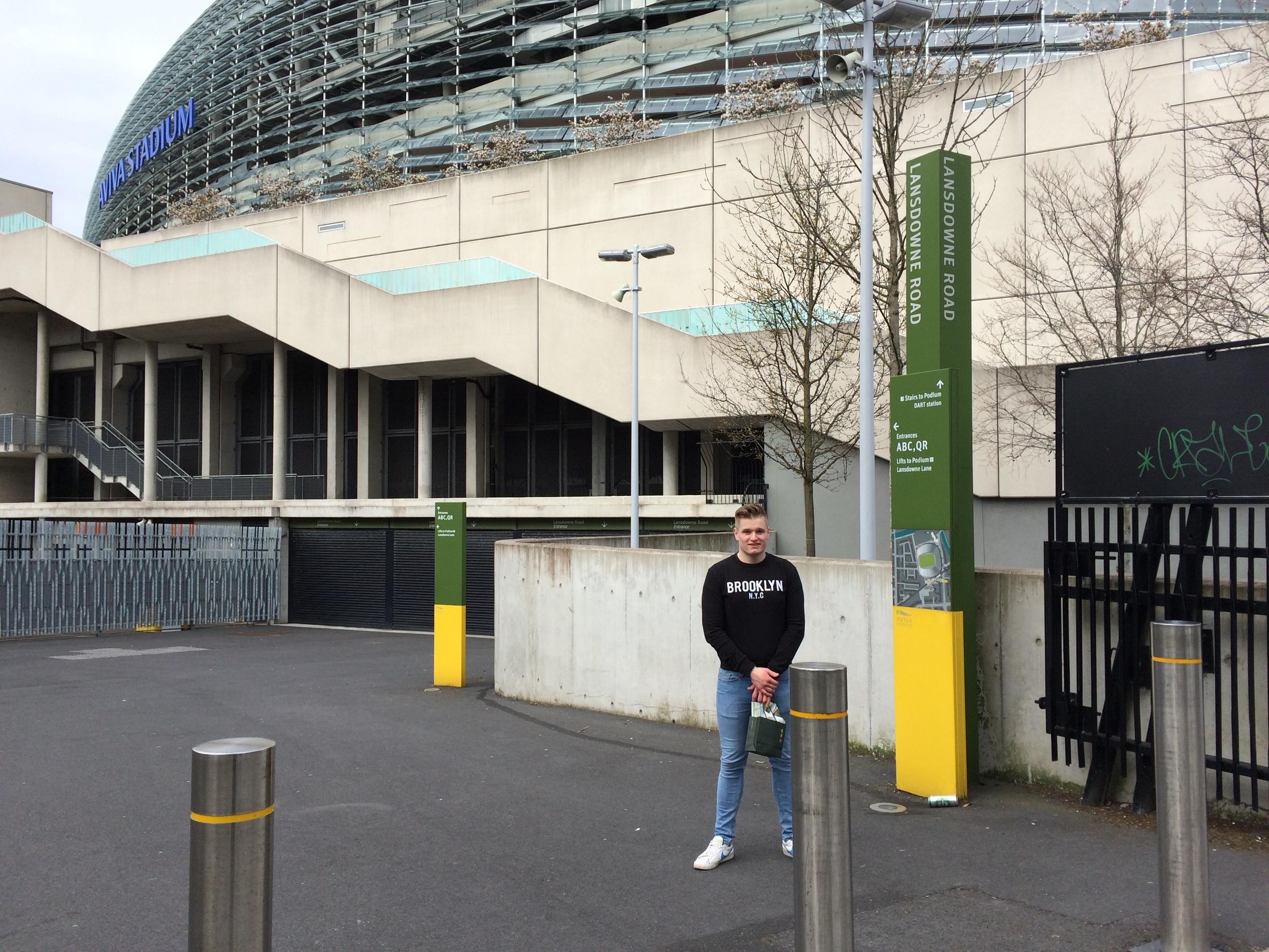 Standing outside Dublin's Aviva Stadium.