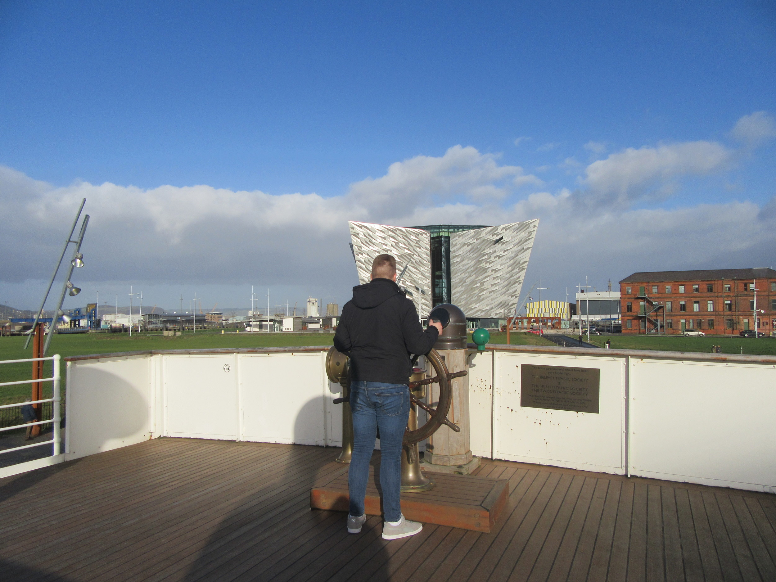 Looking towards Titanic Belfast from the deck of the SS Nomadic.