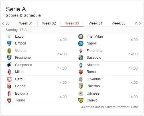 The current slate of games for the weekend we head to Milan.