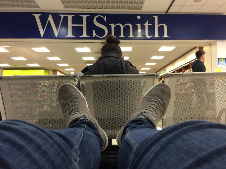 Here I am sat waiting for my flight at Belfast International Airport.