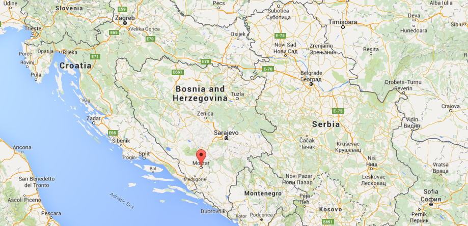 Mostar's location withing Bosnia and Herzegovina. Here you can see its proximity to Croatia and two of our destinations - Dubrovnik and Split. Image credit: Google/Fair use