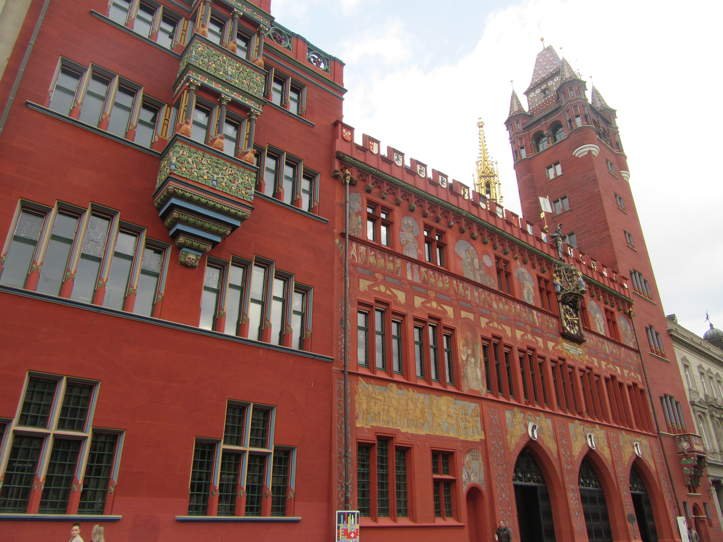 The Town Hall, or Rathaus in German, is bright red and sticks out like a sore thumb.