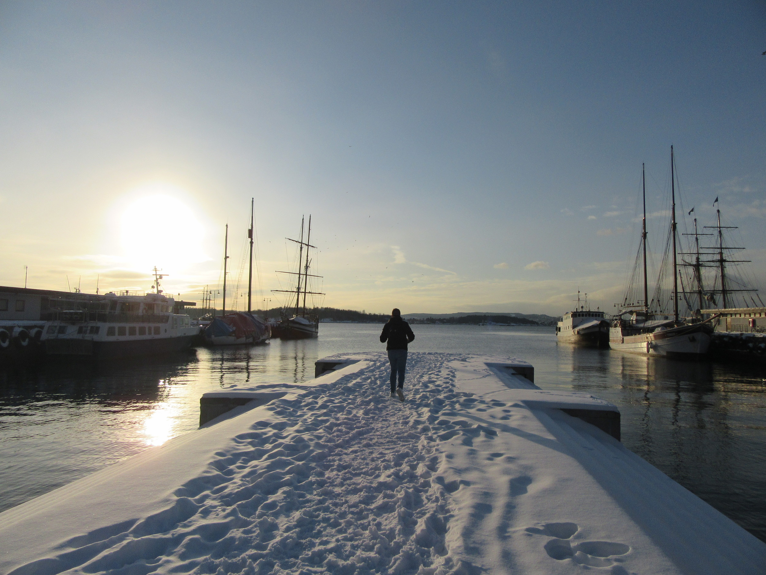 Heading off towards the sunrise in Oslo, Norway.